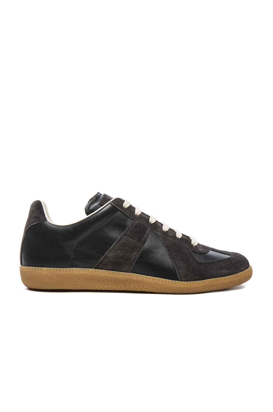 maison margiela calfskin suede replica sneakers in black for men lyst. Black Bedroom Furniture Sets. Home Design Ideas
