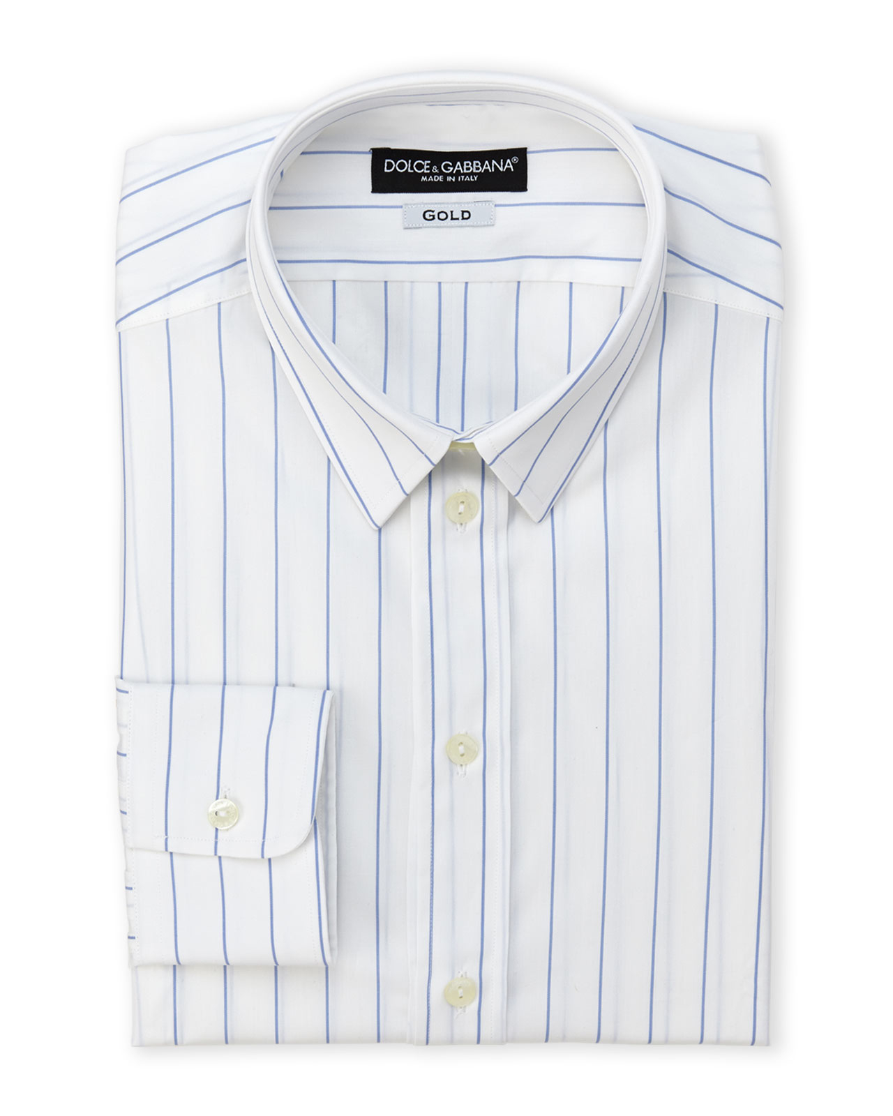 Dolce Amp Gabbana Boxed Gold Fit Thin Stripe Dress Shirt In