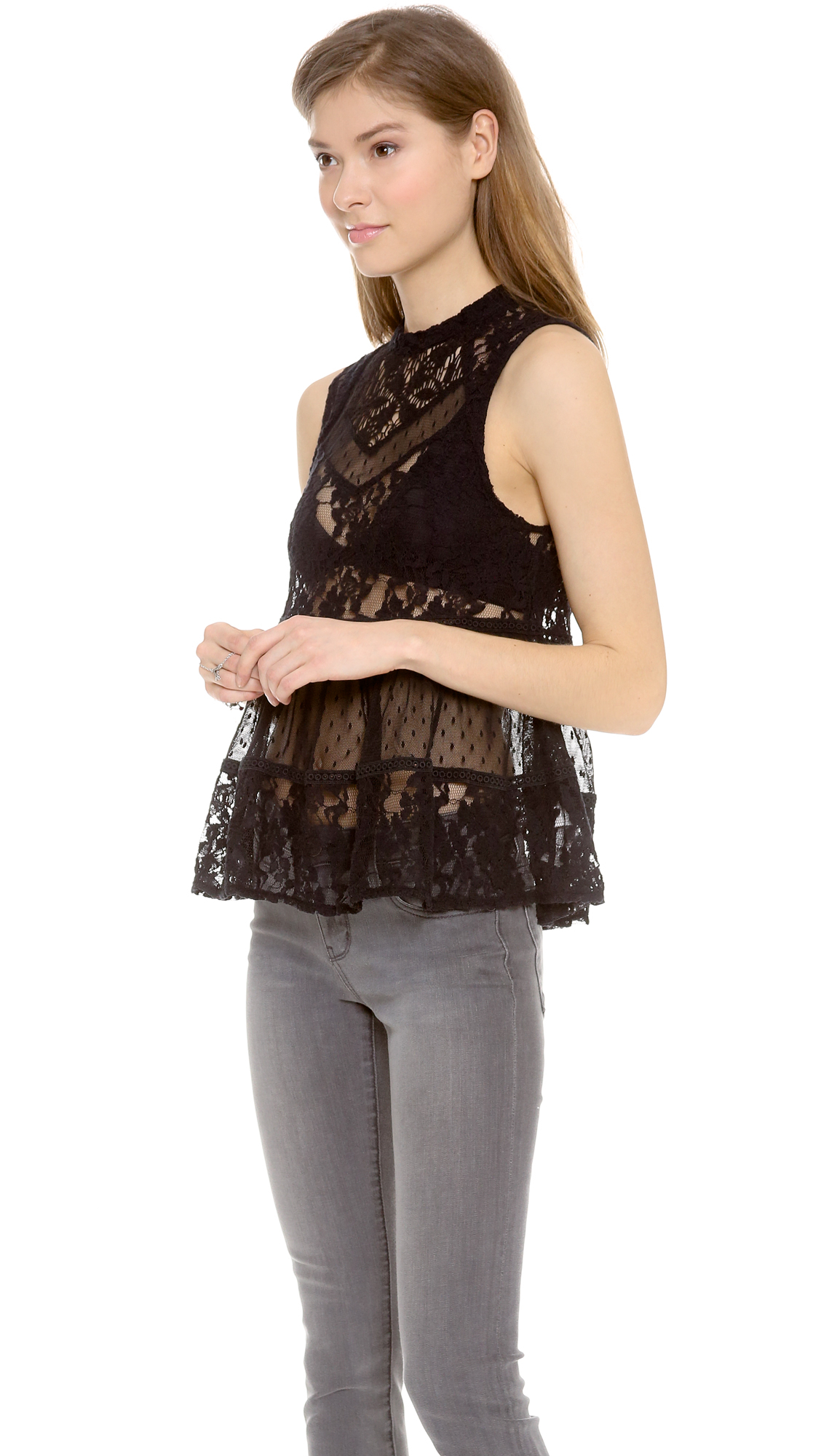 a244c8d7a419a7 Free People Lady Bird Lace Tank in Black - Lyst