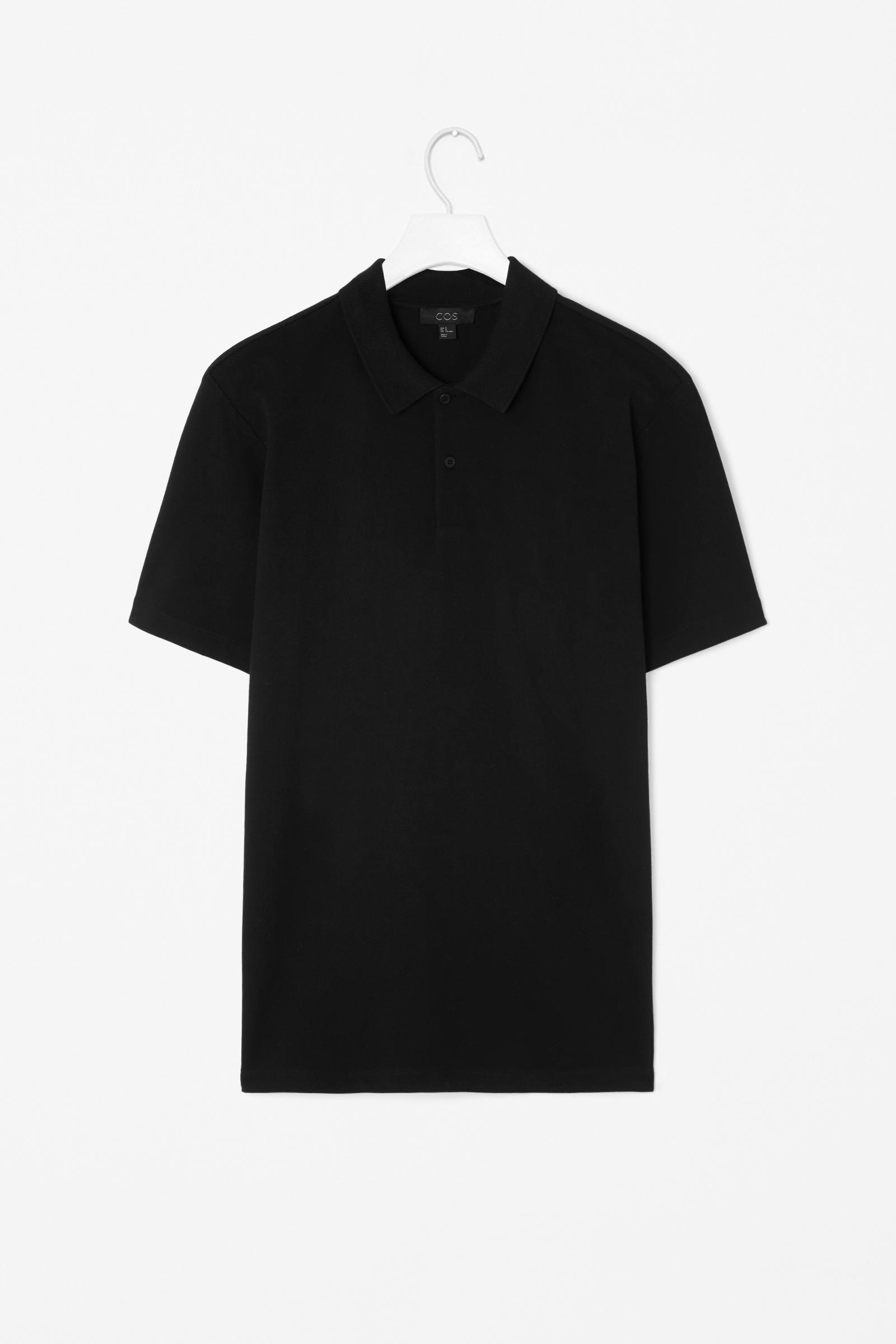Cos pique cotton polo shirt in black for men lyst for Black cotton polo shirt