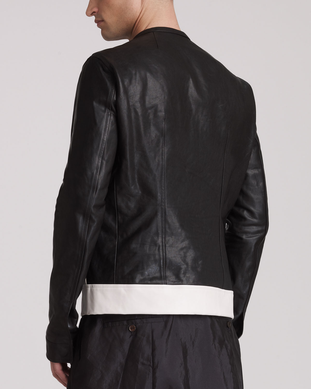 Cheap Rick Owens Paneled Leather Jacket Websites Online Outlet Locations Cheap Price Clearance Low Shipping g1aUBGeN
