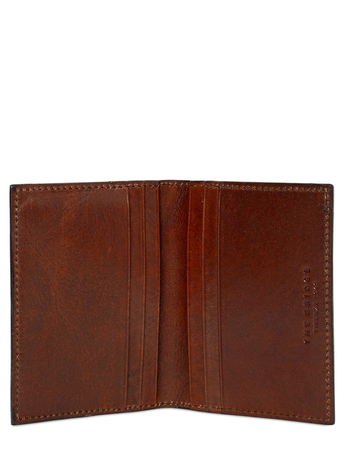 huge selection of 58c46 53f70 The Bridge Brown Hand-painted Folding Leather Card Holder for men