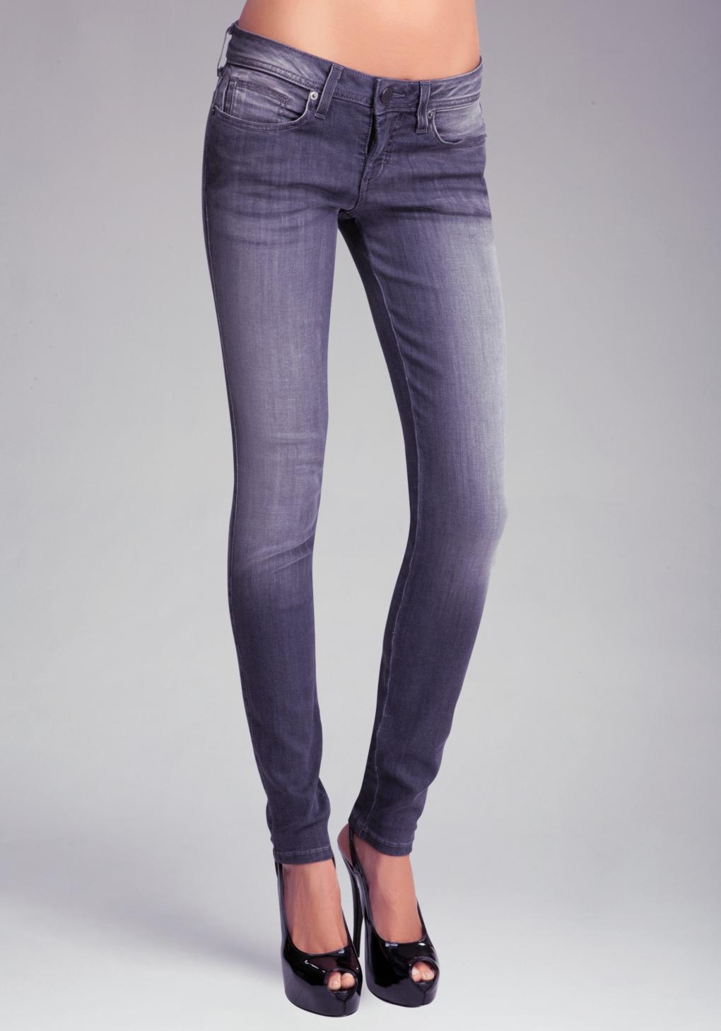 Bebe Signature Stretch Skinny Jean In Gray Lyst