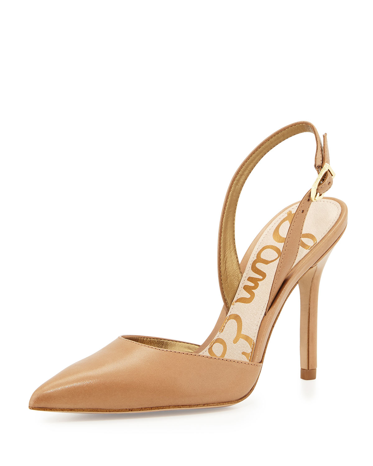 3522d7a3a Sam Edelman Dora Leather Slingback Pumps in Natural - Lyst