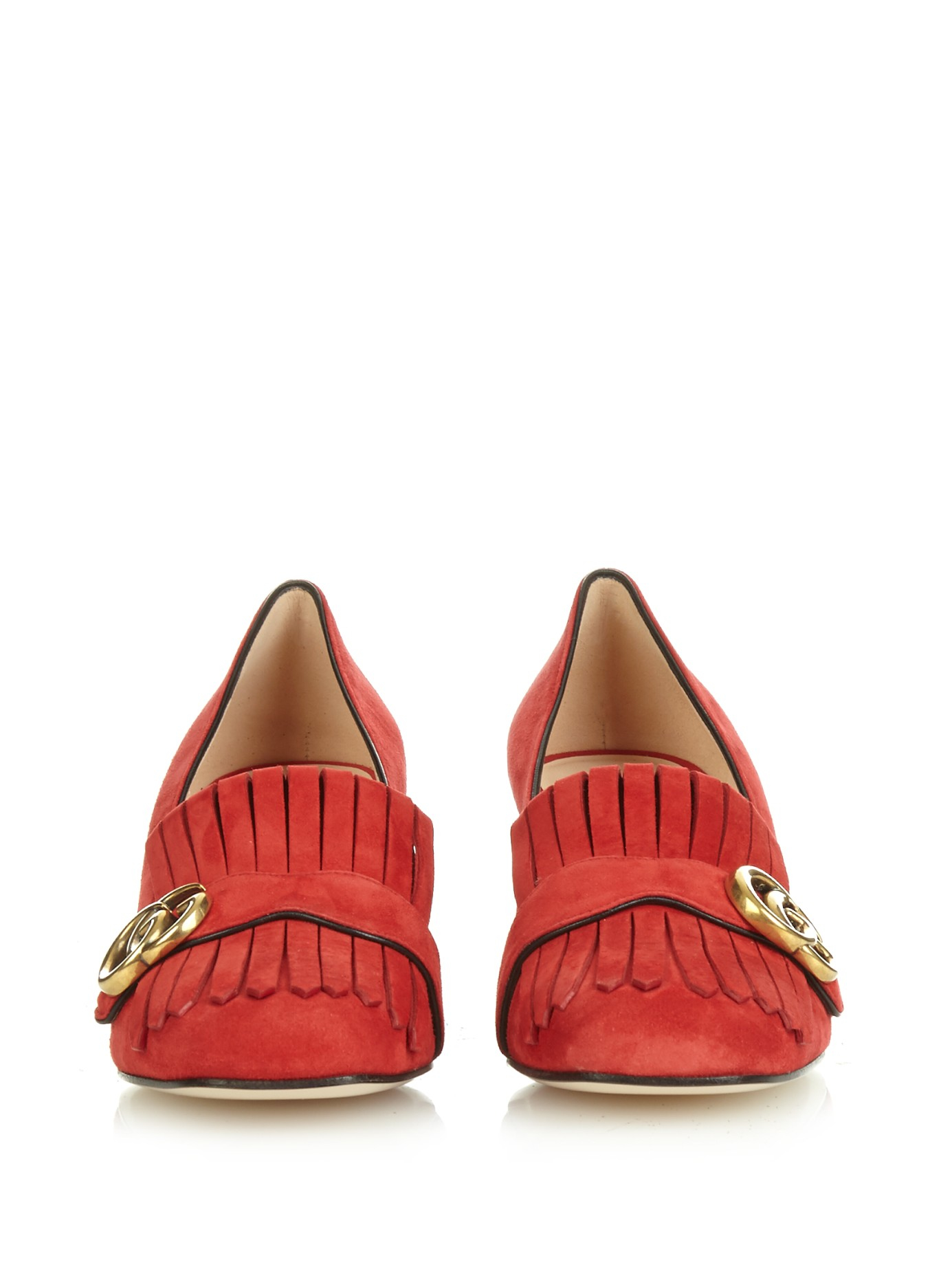 8d1b9cf0e4c Lyst - Gucci Marmont Fringed Suede Pumps in Red