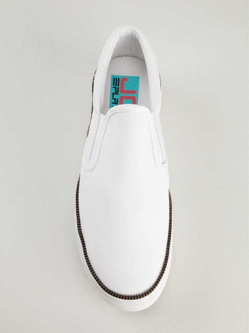 Jeffrey Campbell Platform Slip-On Sneakers in White