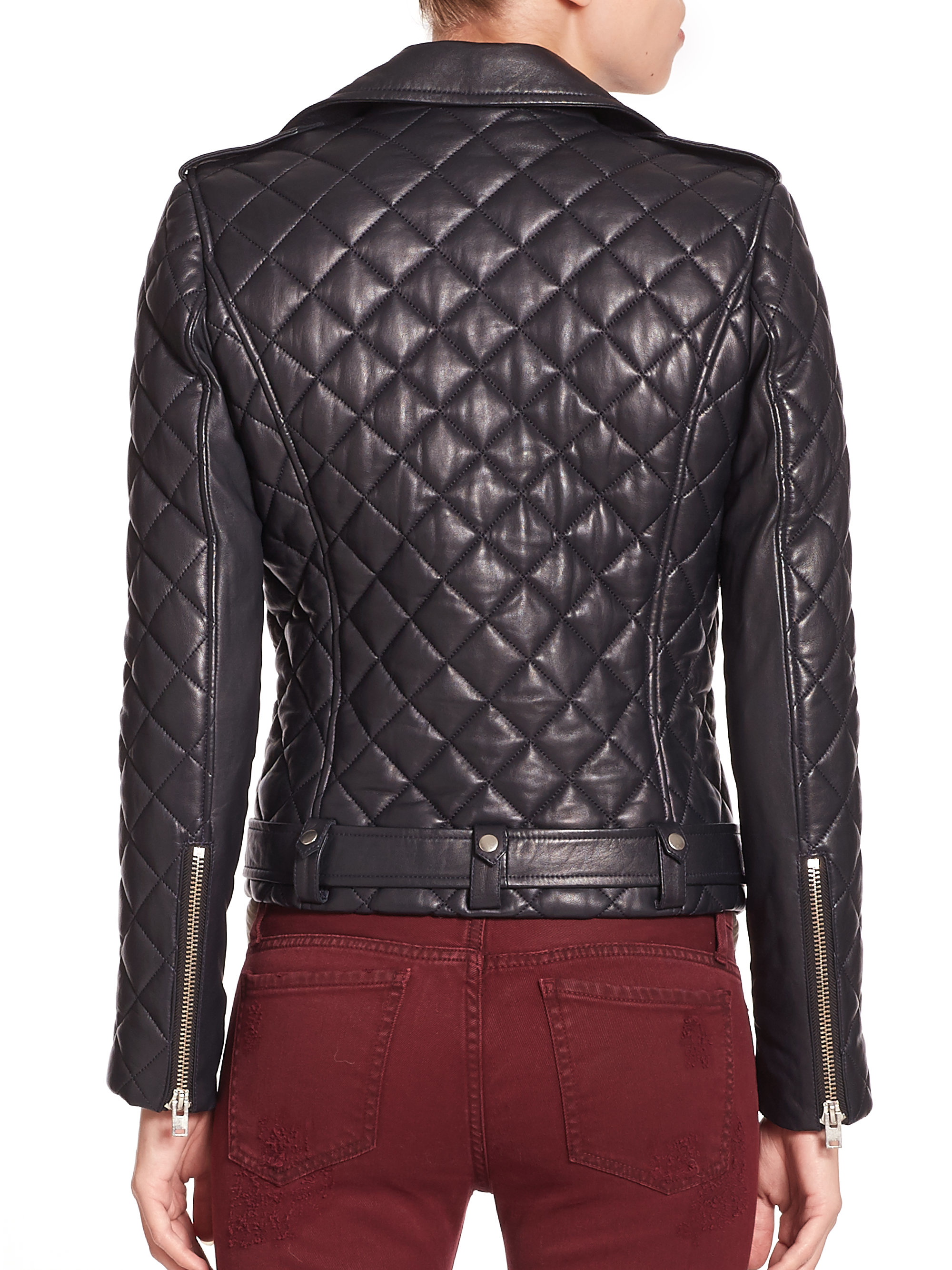 Quilted leather moto jacket