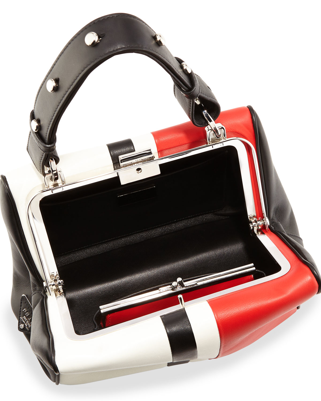 authentic prada bags cheap - Prada Calf Baiadera Small Hinge-frame Bag in Multicolor (MULTI) | Lyst