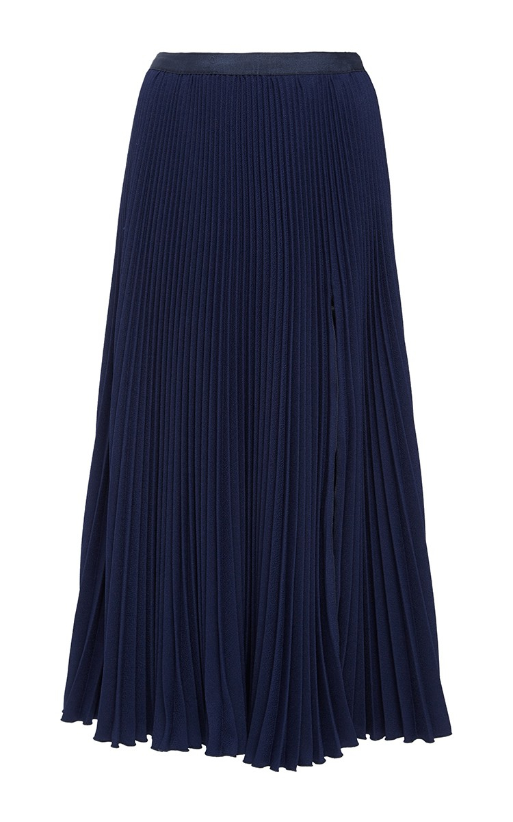 kaelen pleated skirt with slit in blue lyst