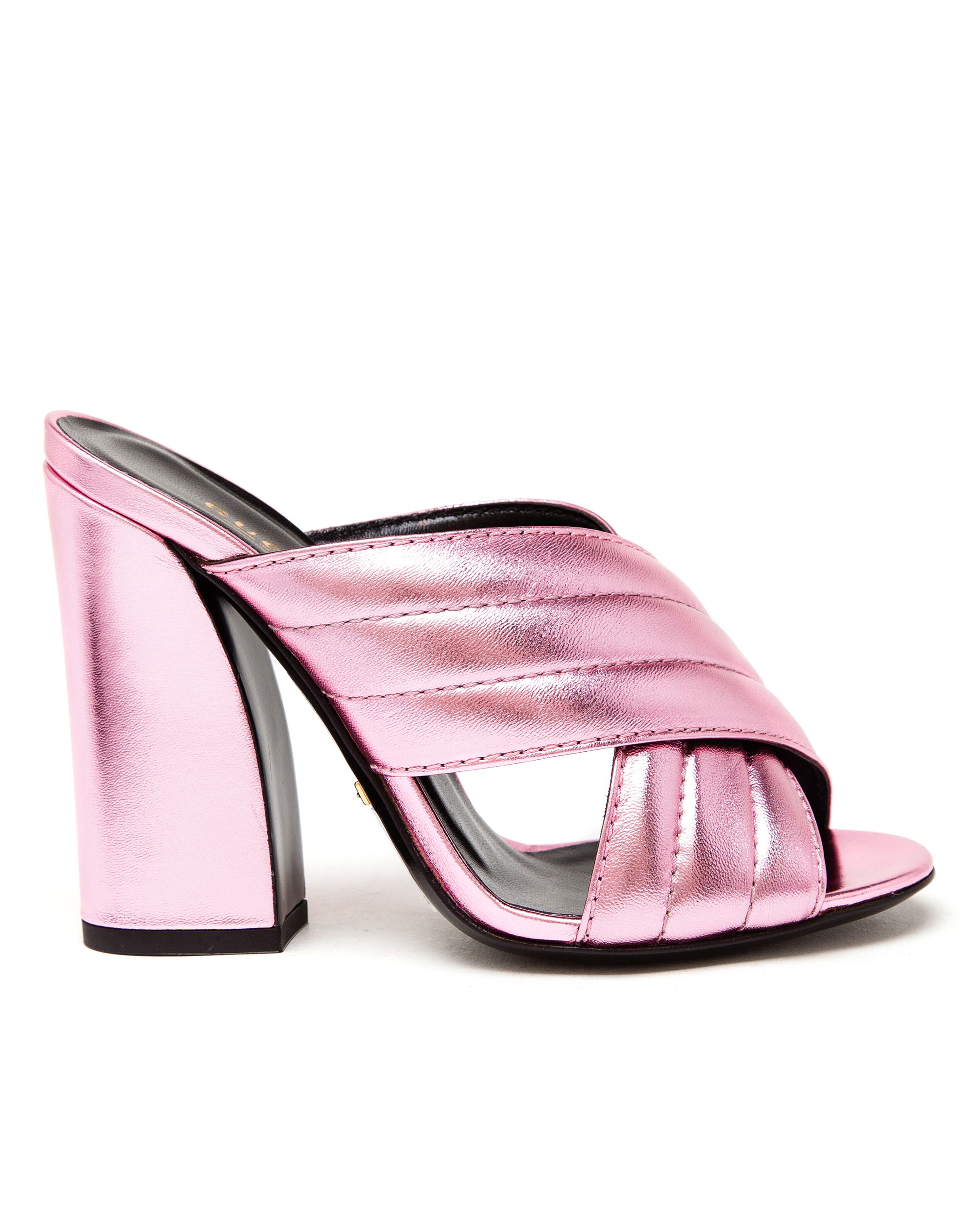 a4ebc4ff4bb00 Lyst - Gucci Padded Metallic Leather Mules in Pink