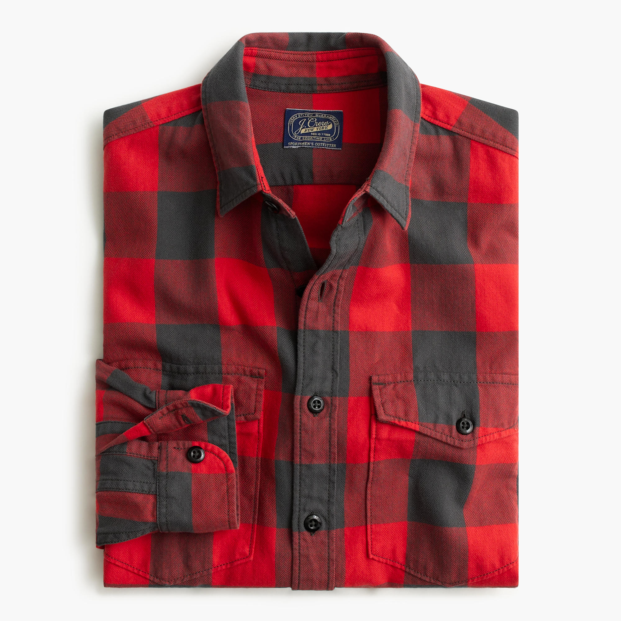 herringbone flannel shirt in buffalo check in red