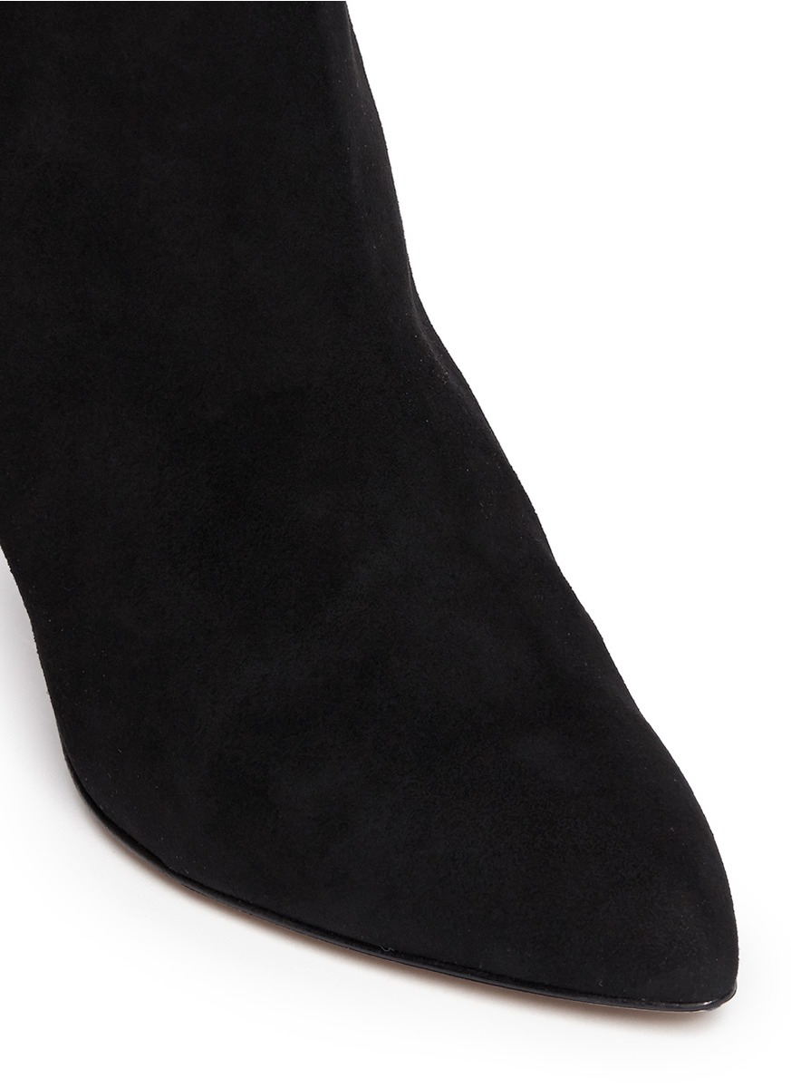 64d3f8fbc8e9 Lyst - Kate Spade  Niko  Coarse Glitter Heel Suede Ankle Boots in Black