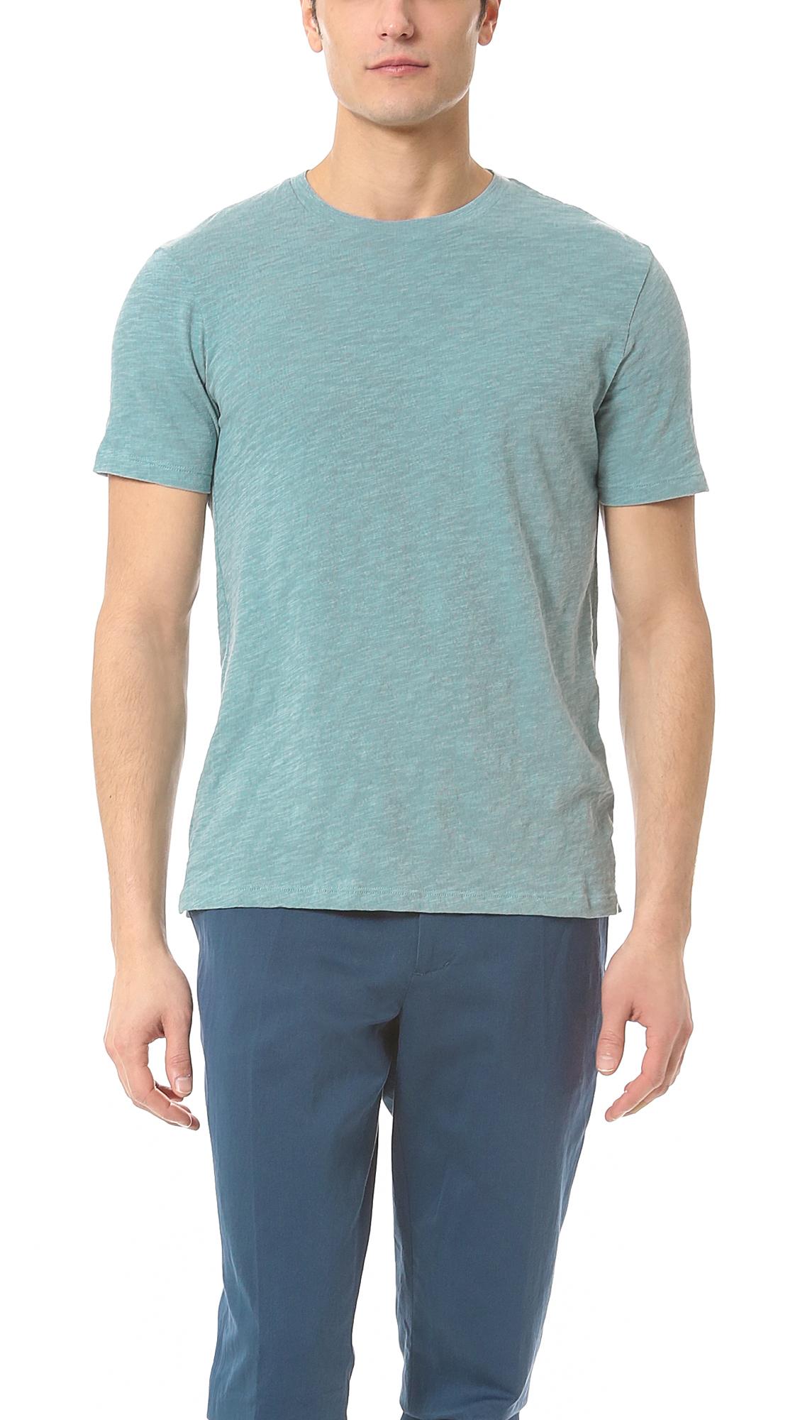 Vince slub t shirt in blue for men adriatic sea lyst for What is a slub shirt