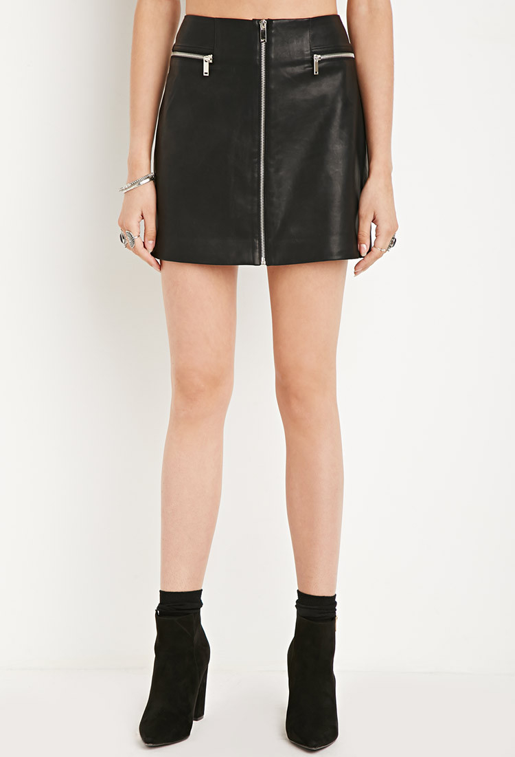 forever 21 faux leather zipped skirt in black lyst