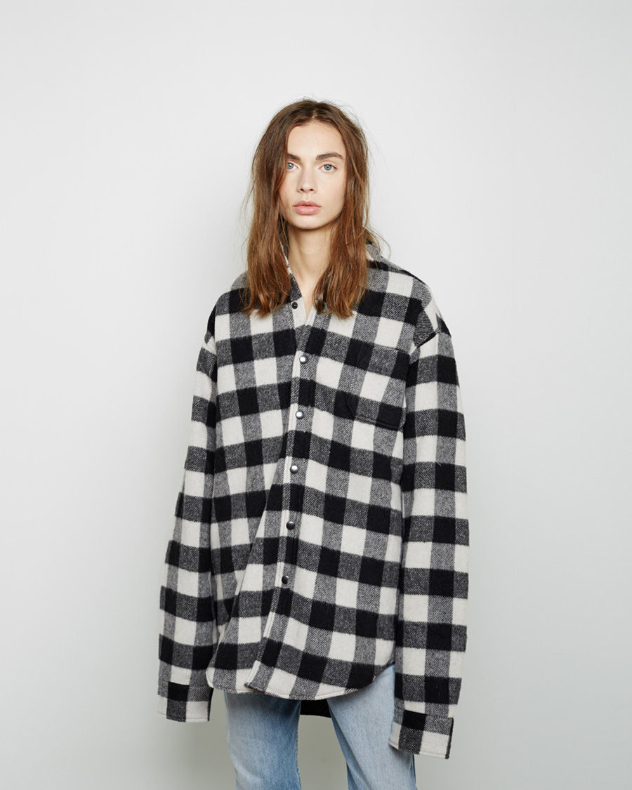 Vetements checked wool shirt in black lyst for Buffalo check flannel shirt jacket