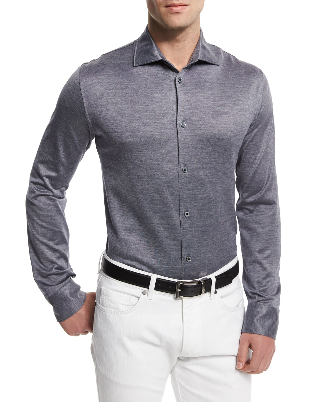 ermenegildo zegna cotton silk sport shirt in blue for men save 60 lyst. Black Bedroom Furniture Sets. Home Design Ideas