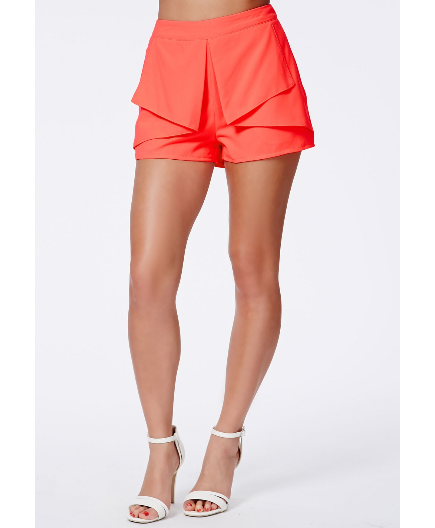 Missguided Sage Neon Coral High Waisted Shorts With Pleated Detail ...