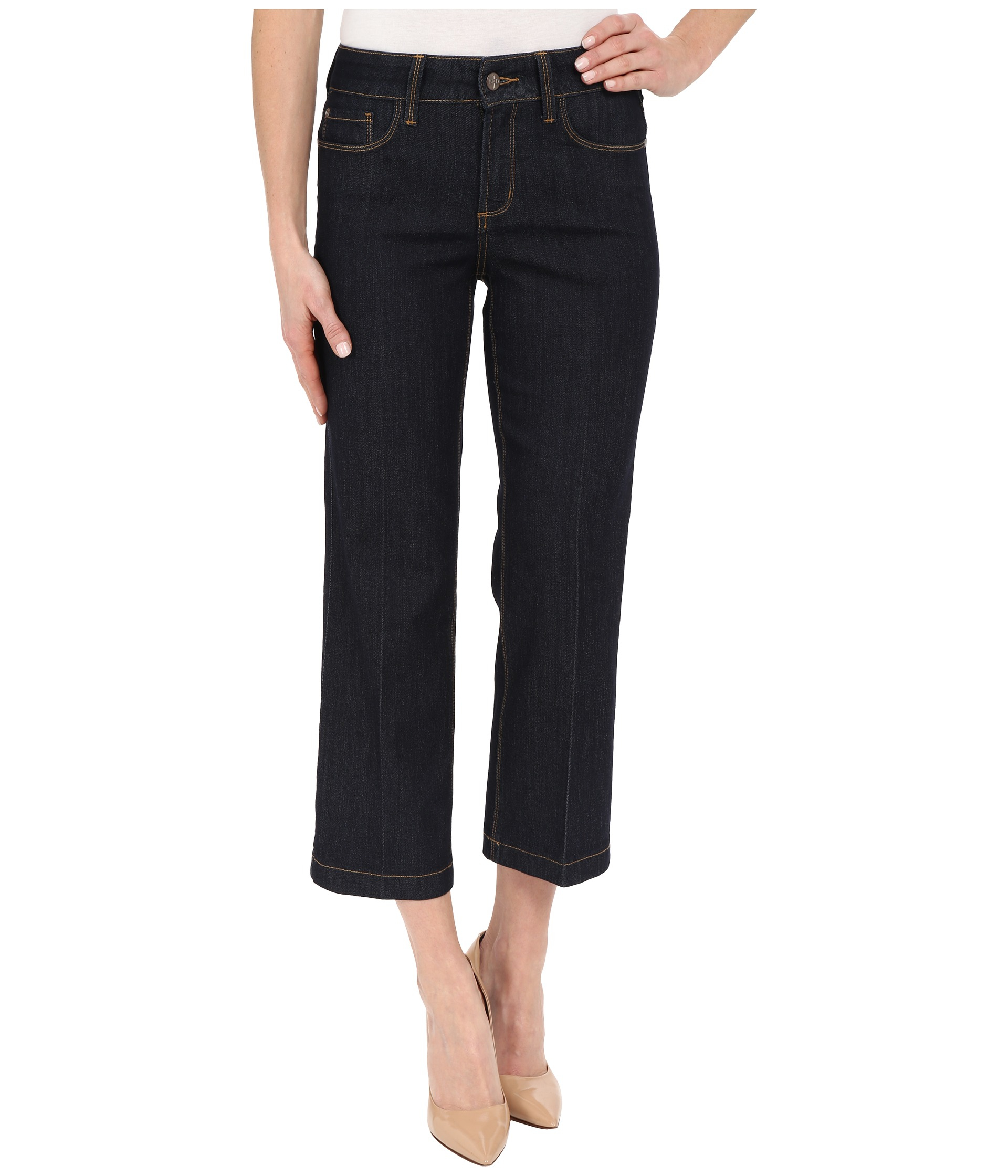 Nydj Sophia Flare Ankle Jeans In Dark Enzyme Wash in Black ...