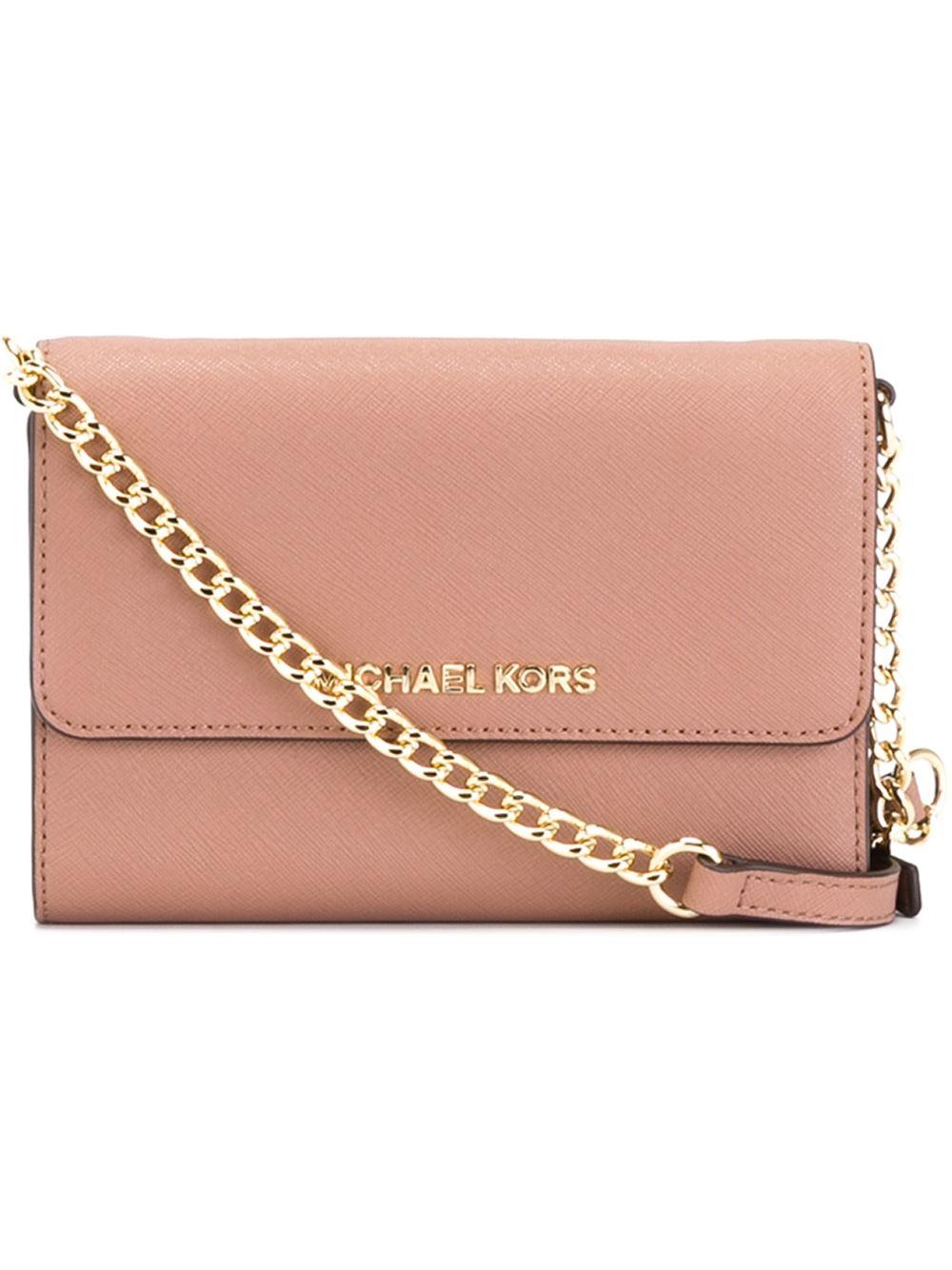 4fd46bada4b6 Lyst - MICHAEL Michael Kors  jet Set Travel  Phone Crossbody Bag in Pink