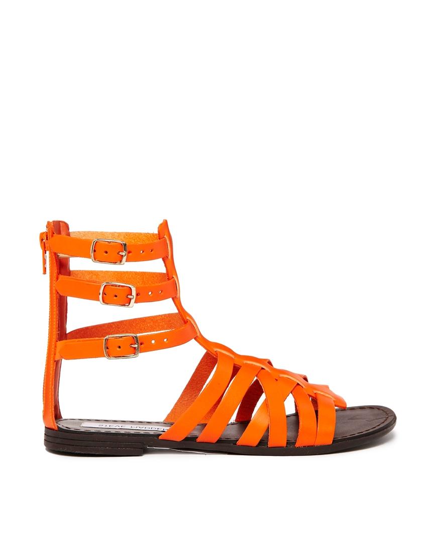 Steve Madden Plato Multi Strap Orange Gladiator Flat