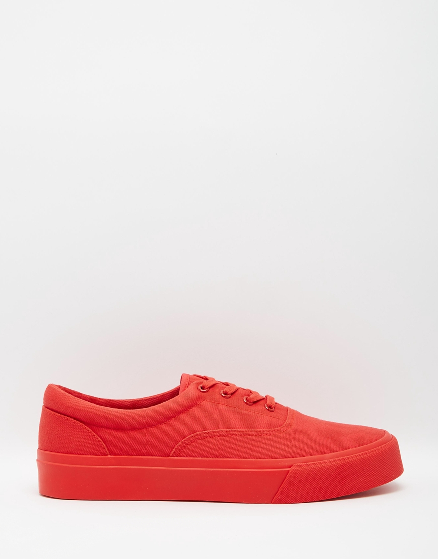 asos lace up plimsolls in canvas in for lyst