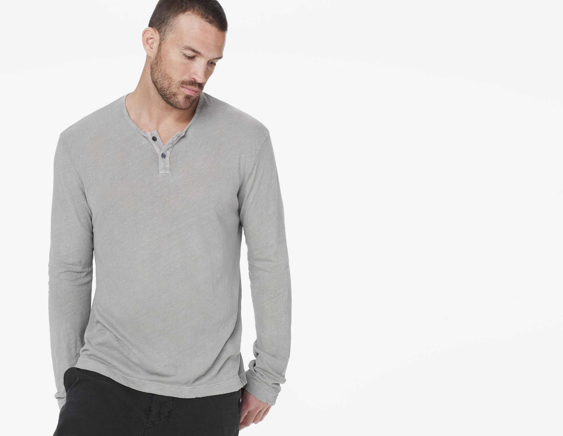Lyst james perse linen blend long sleeve henley in gray for James perse henley shirt