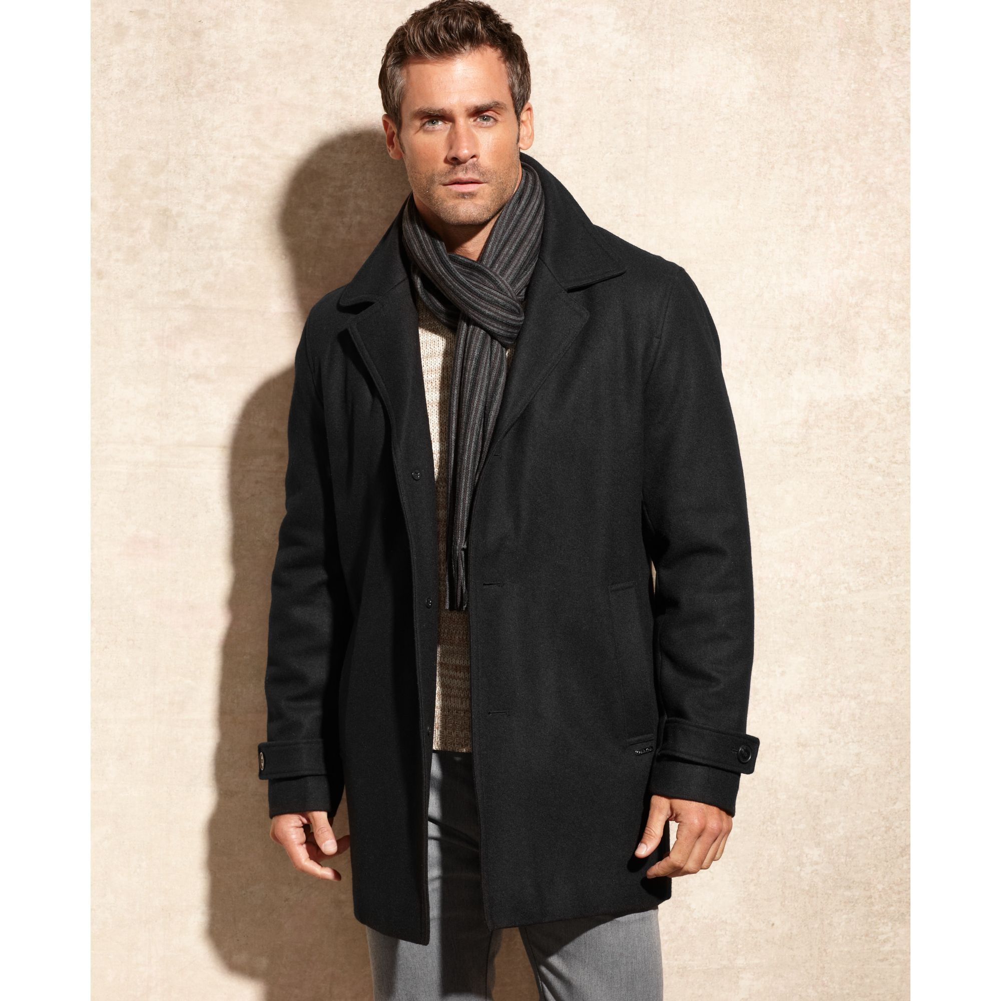 Calvin klein Melton Wool Blend Car Coat with Scarf in Black for