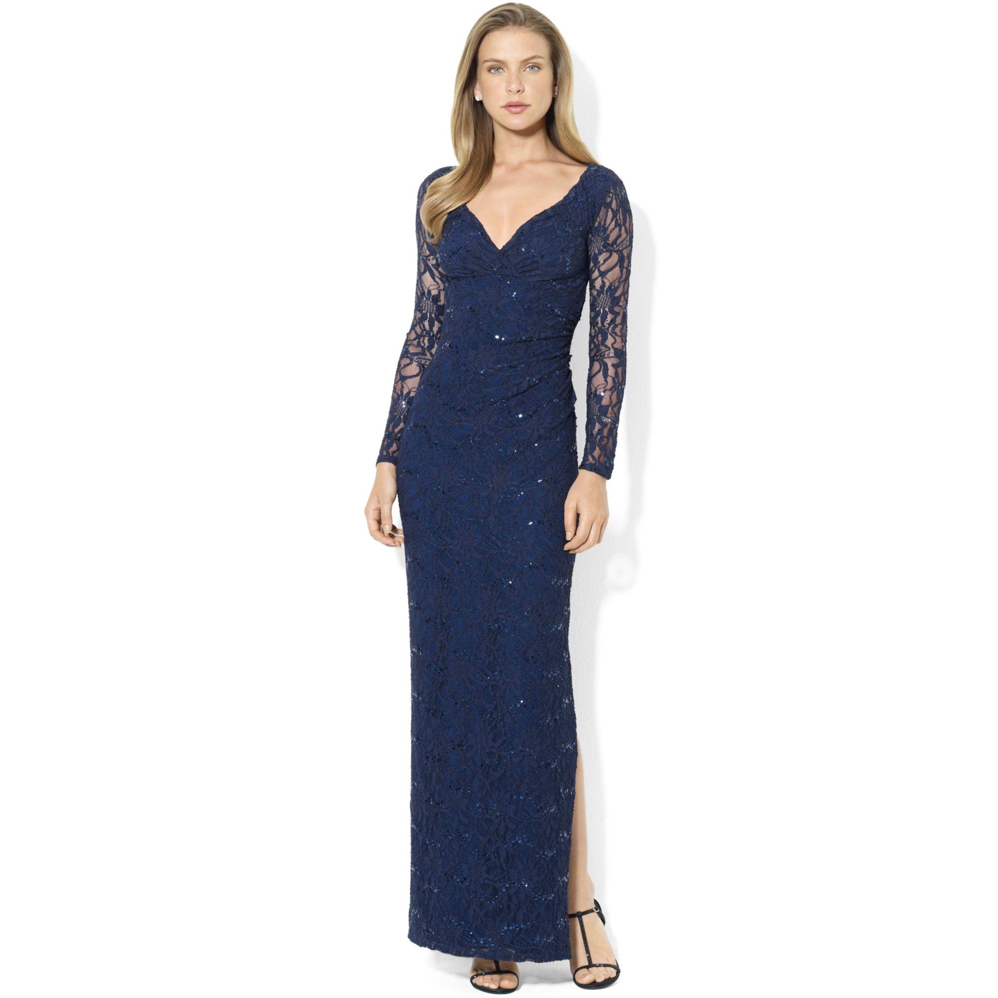 Lyst - Lauren By Ralph Lauren Longsleeve Lace Sequin Gown in Blue