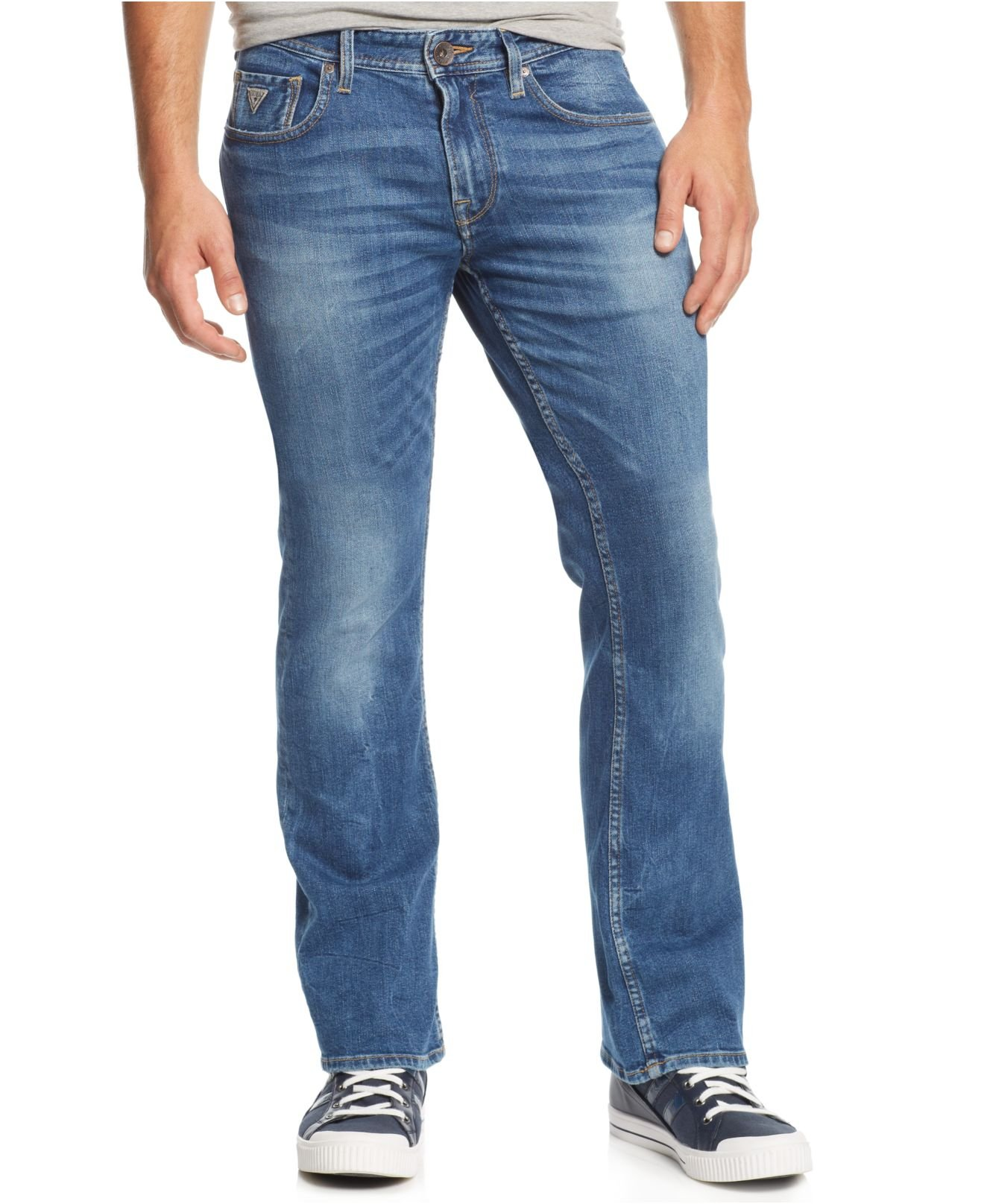 Guess Men S Bootcut Folsom Blues Wash Jeans In Blue For