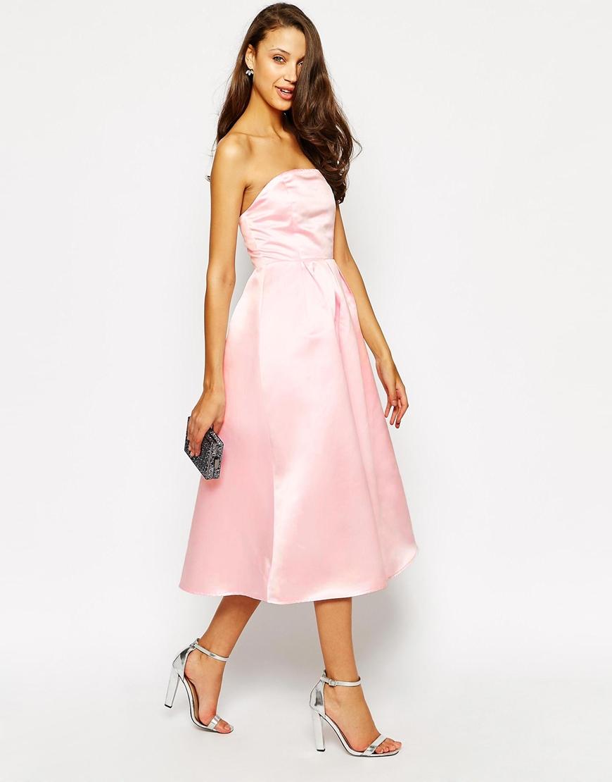 Lyst True Decadence Strapless Midi Satin Prom Dress In Pink