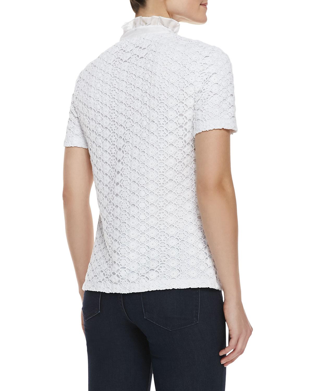 Tory Burch Lidia Lace Ruffles Polo Shirt In White White