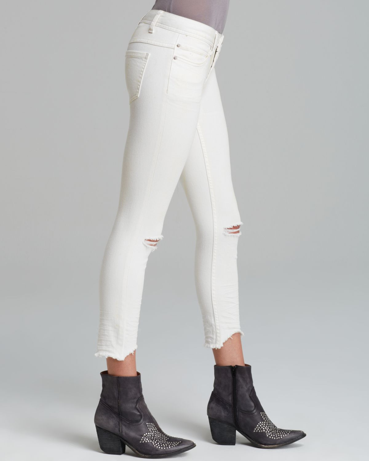 Gallery. Previously sold at: Bloomingdale's · Women's White Jeans - Free People Jeans - Skinny Destroyed Ankle In White In White Lyst