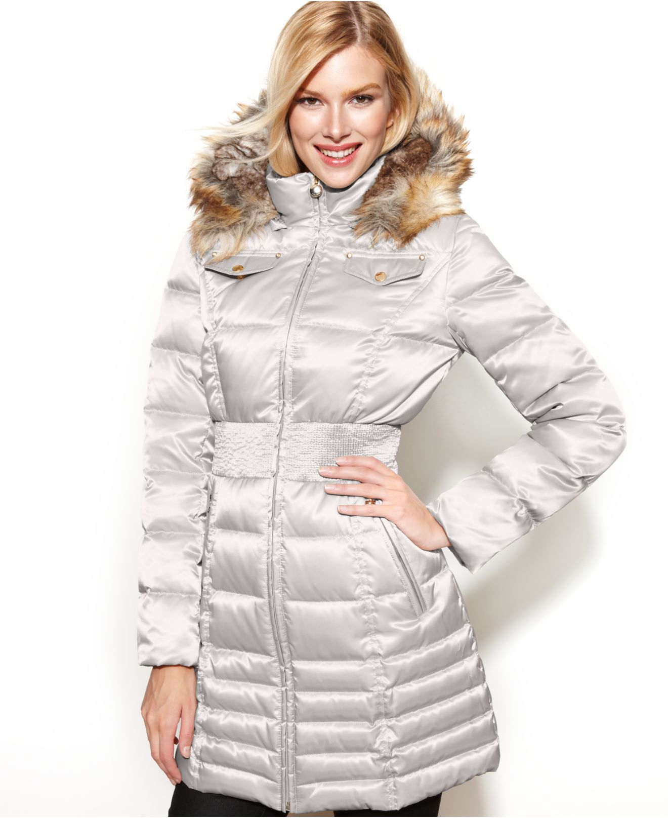 new photos classic chic innovative design Laundry by Shelli Segal Metallic Petite Hooded Faux-Fur-Trim Down Puffer  Coat