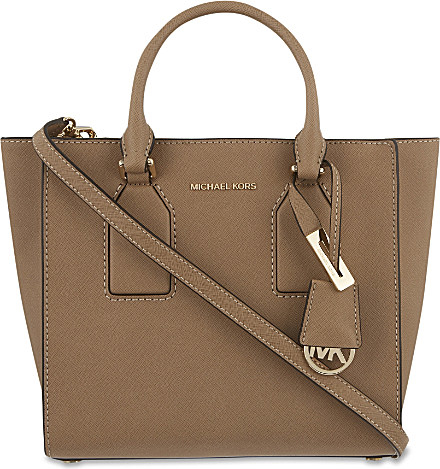 cba04fd888c9 Lyst - MICHAEL Michael Kors Selby Medium Leather Satchel in Natural
