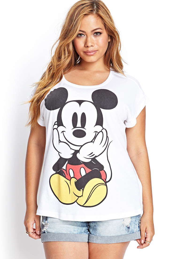 ddb086435ba Lyst - Forever 21 Plus Size Mickey Mouse Graphic Tee in White