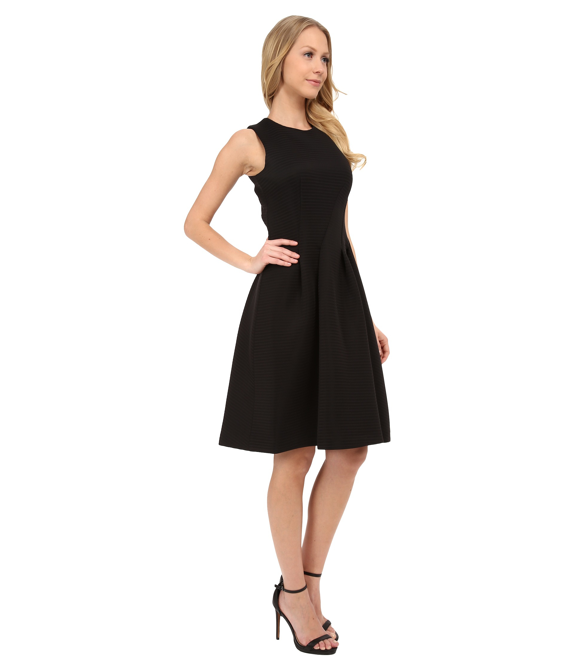 Calvin Klein Fit Amp Flare Dress In Black Lyst