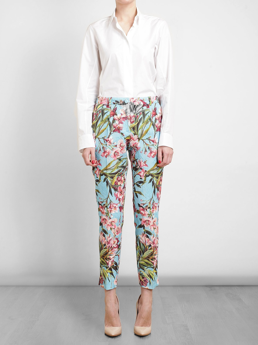 Dolce Amp Gabbana Floral Jacquard Trousers In Blue Lyst