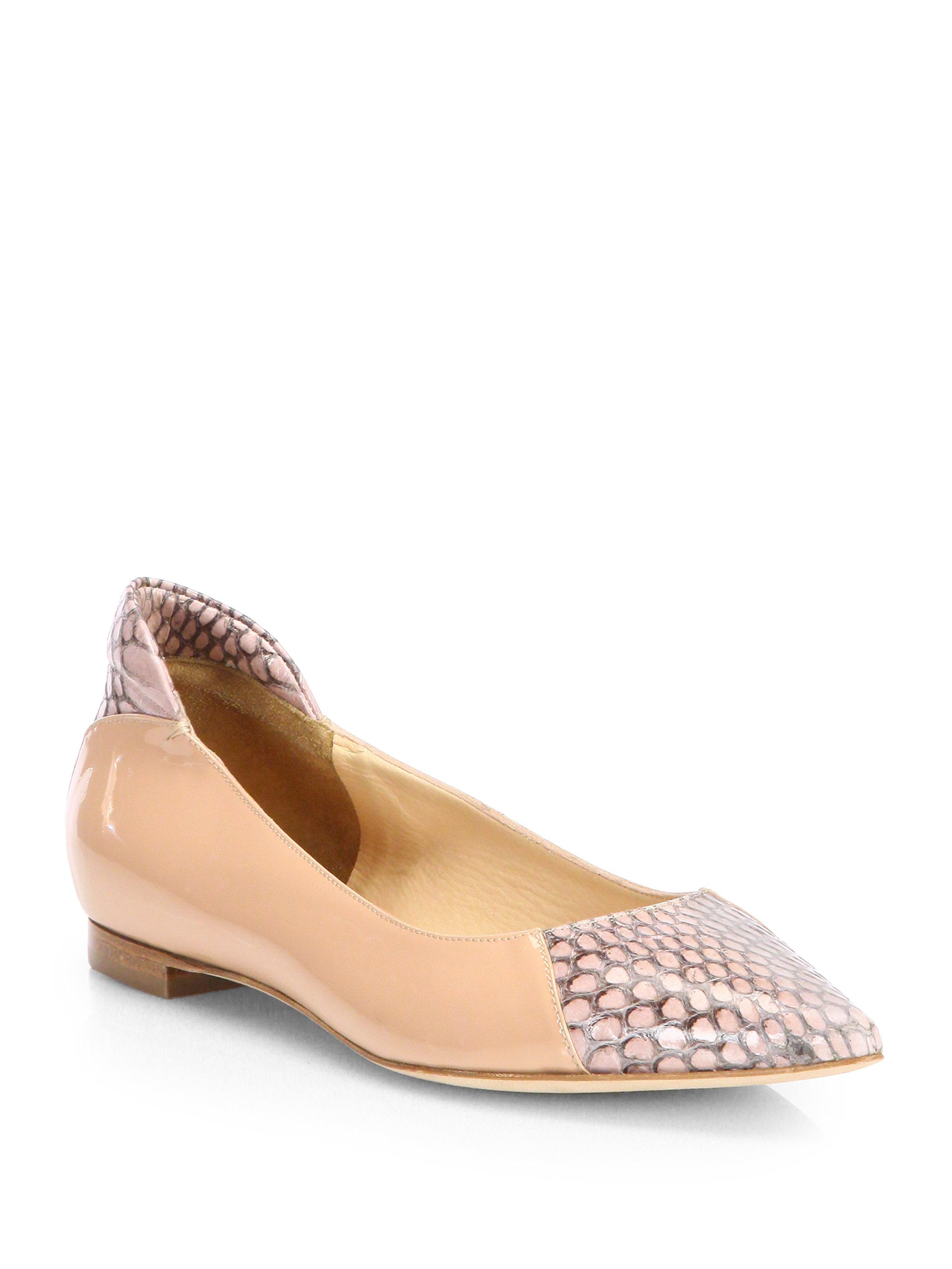 Reed Krakoff Snakeskin-Trimmed Academy Flats best place online buy cheap fashion Style discount reliable quality from china cheap mLw2NlcR
