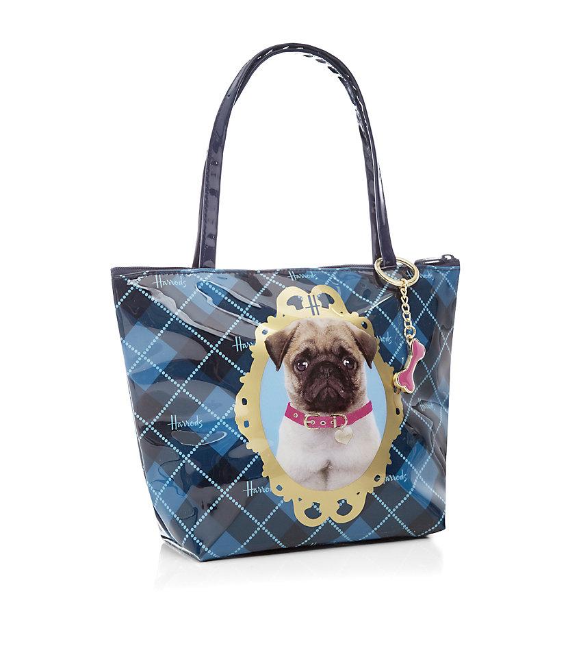 Harrods Posh Pug Mini Tote Bag in Bone (Blue)