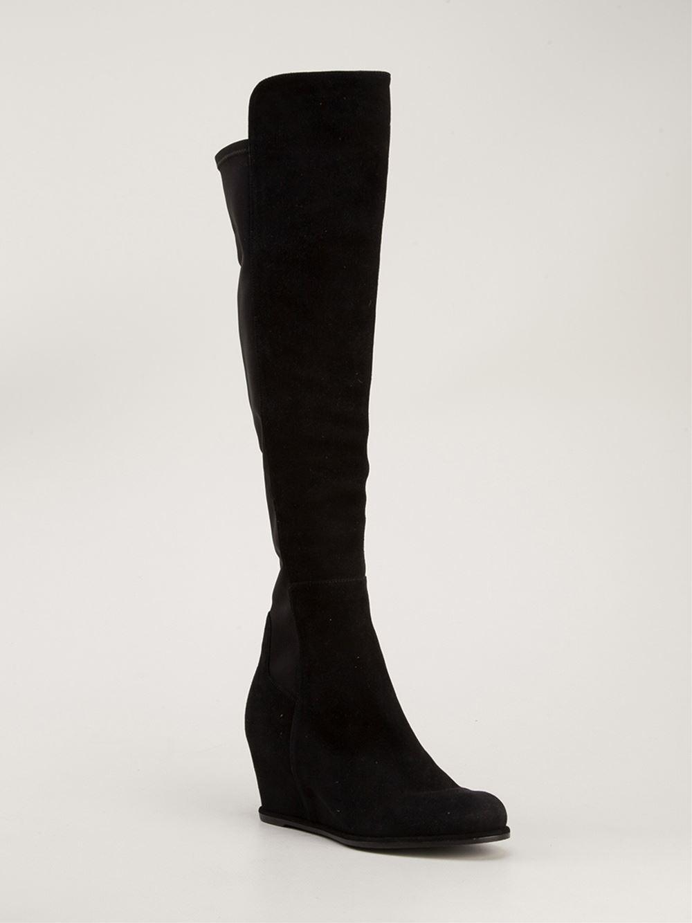 stuart weitzman 39 semi 39 boots in black lyst. Black Bedroom Furniture Sets. Home Design Ideas