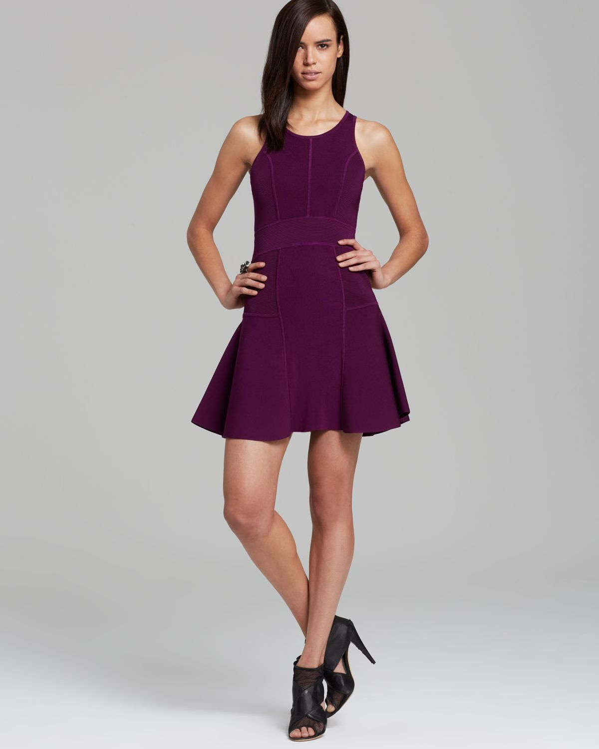 Milly Dress Fit And Flare In Plum Purple Lyst