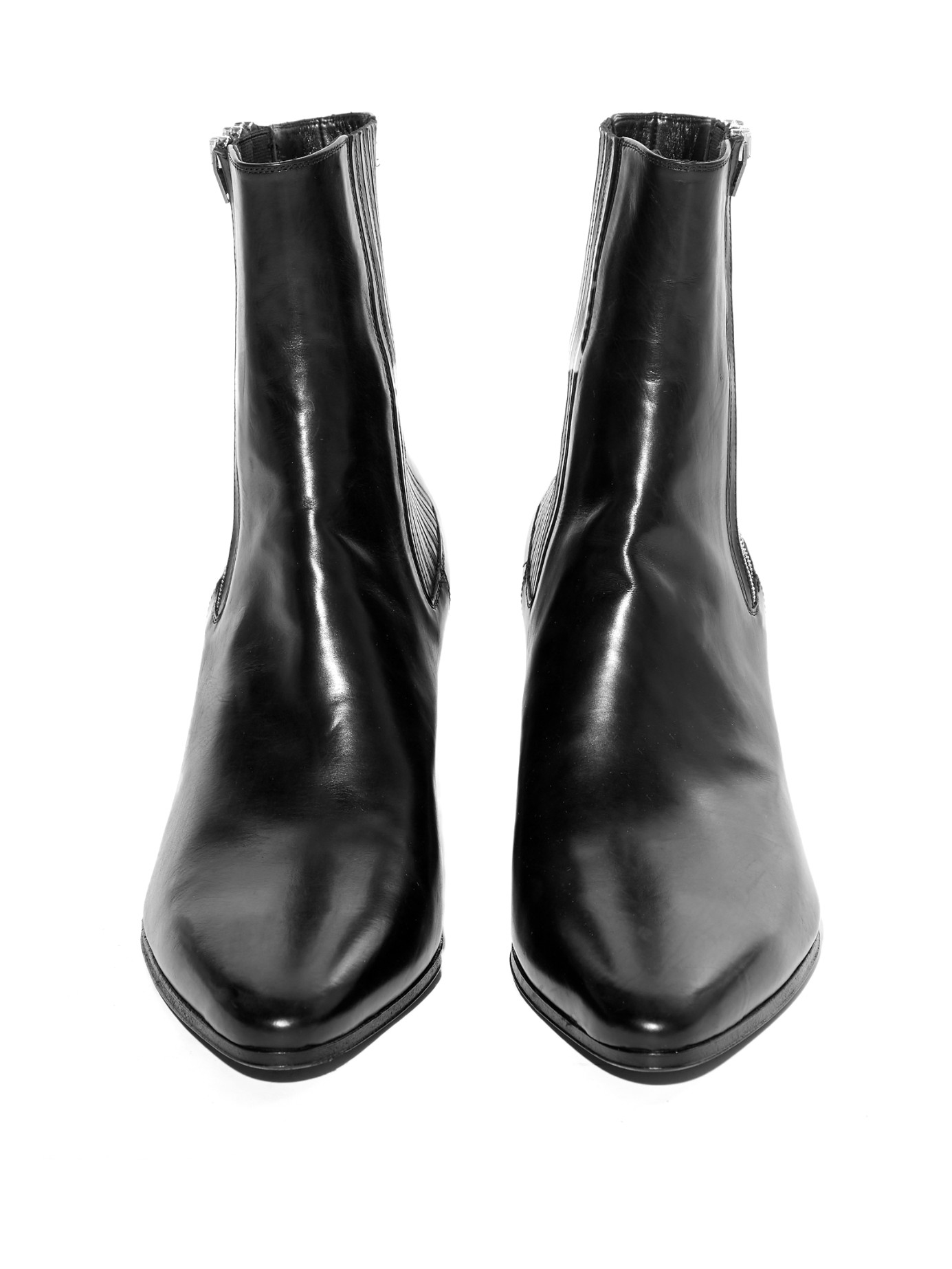 Saint Laurent Triple Zip Point Toe Leather Ankle Boots In