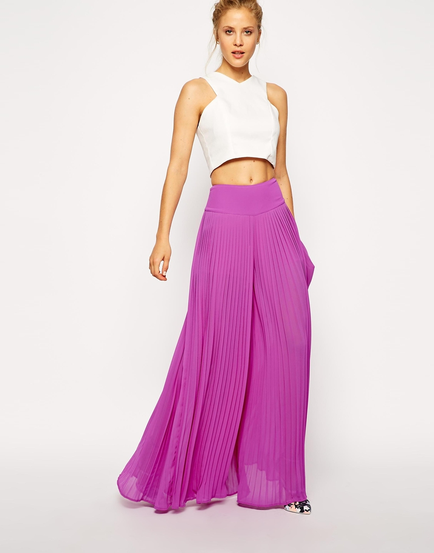 Asos Pleated Wide Leg Pants in Purple | Lyst