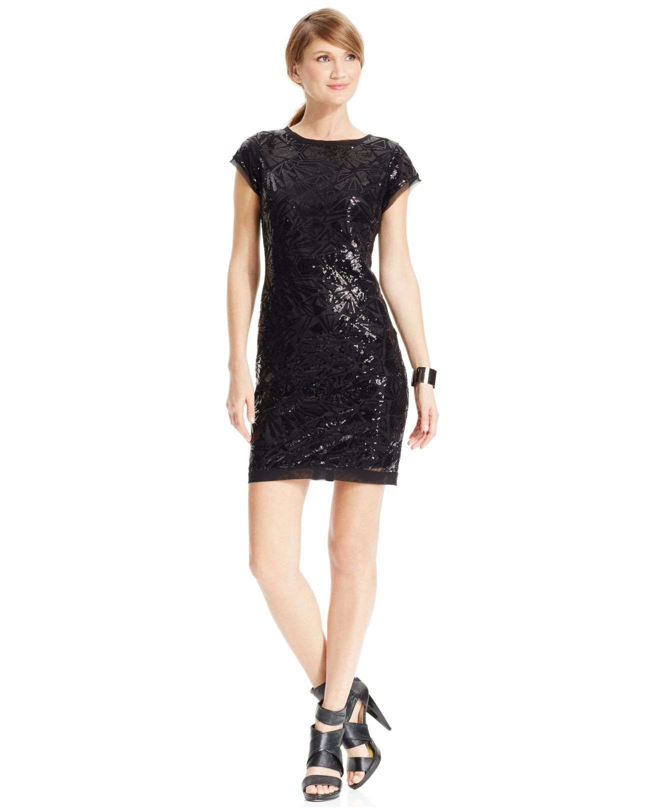 Vince Camuto Sequined Cap Sleeve Sheath Dress In Black Lyst
