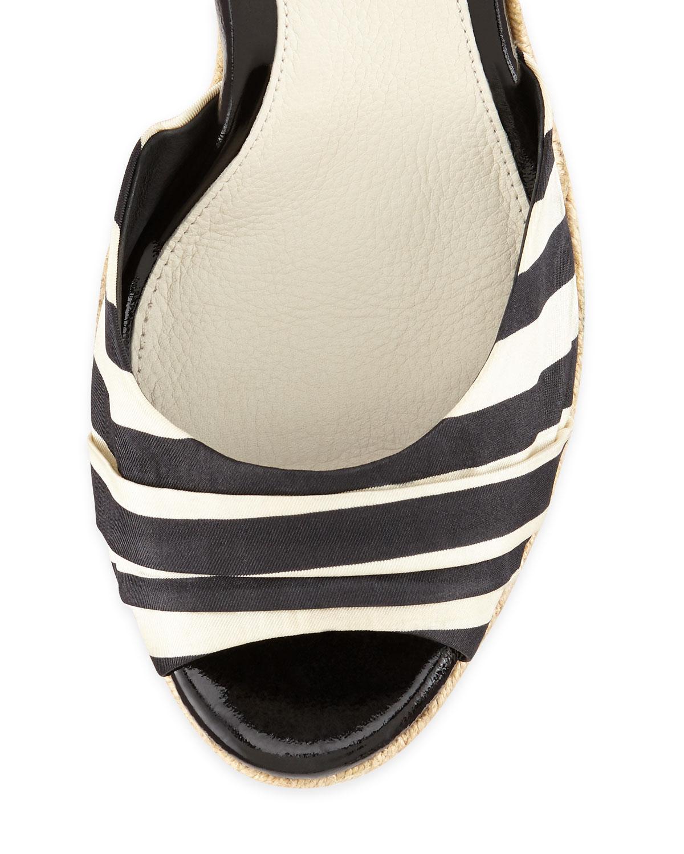 Ugg Lucianna Striped Wedge Sandal Black Lyst
