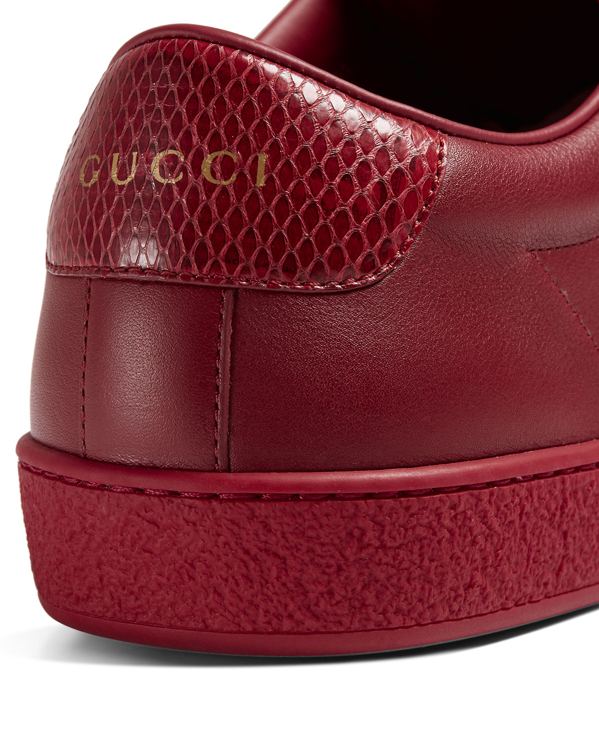 Lyst Gucci Leather Low Top Sneaker In Red