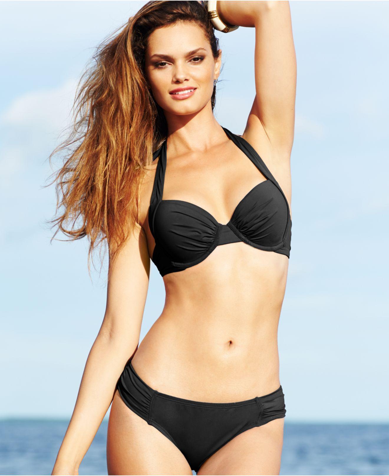 fc6c97f282f5a Tommy Bahama Bra-sized Underwire Halter Bikini Top in Black - Lyst