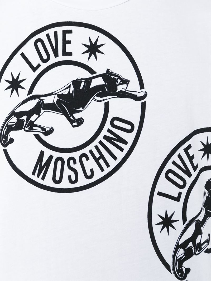 Lyst Love Moschino Panther Logo Print T Shirt In Black