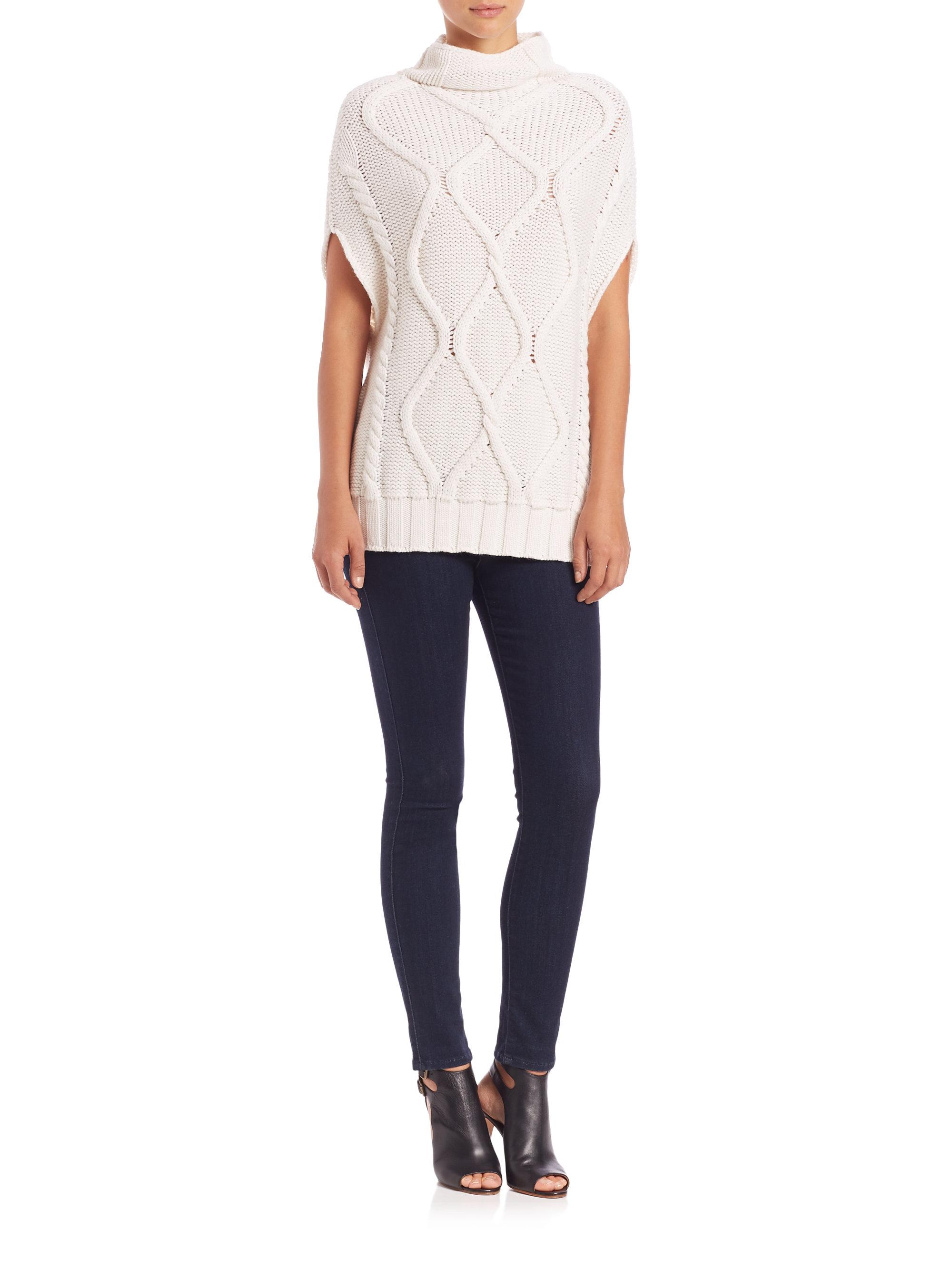 White Turtleneck Knit Sweater 13