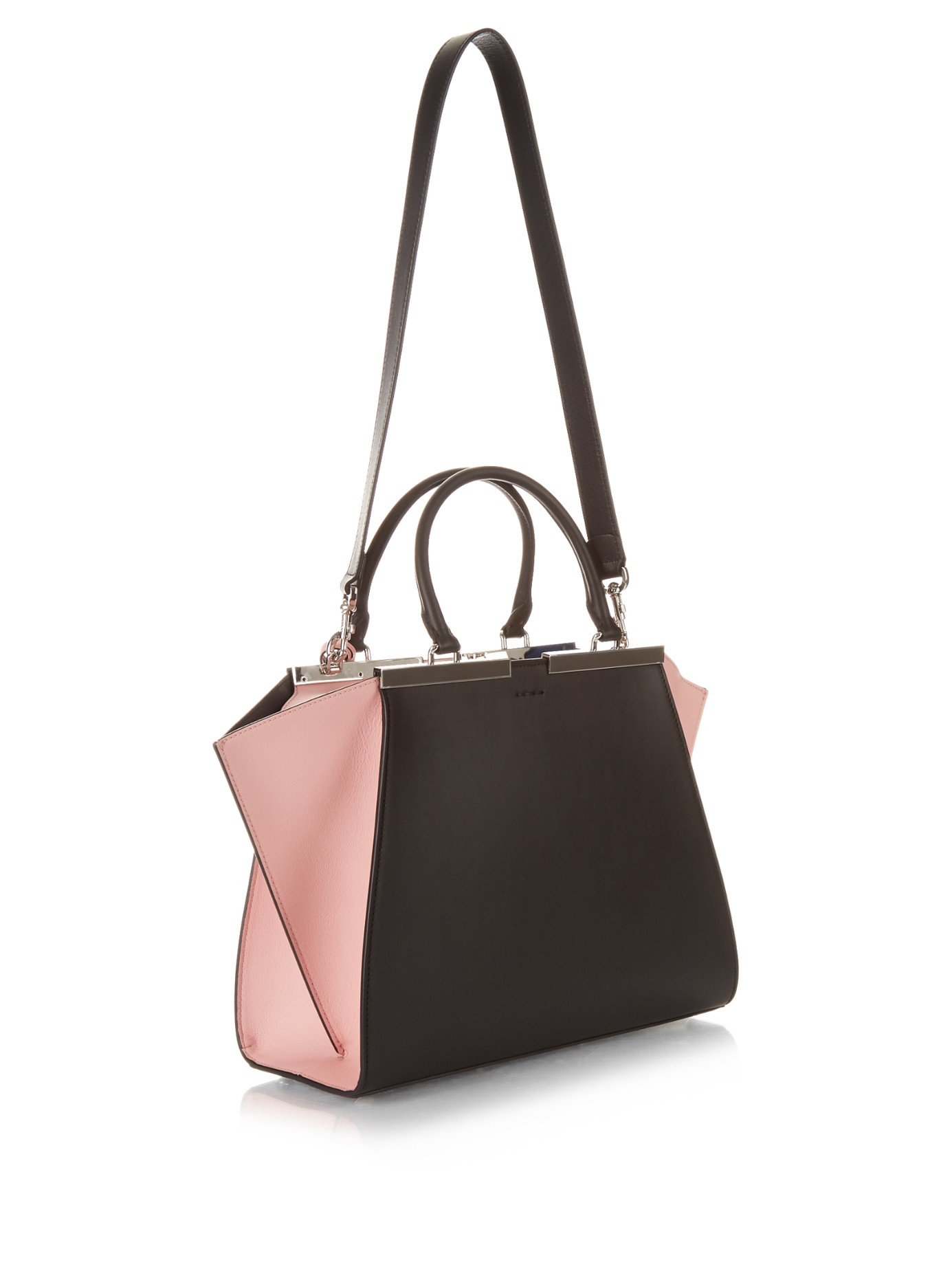 d7418d68ae9 ... usa lyst fendi 3jours small trapeze leather tote in pink 27d3f 1dbae ...